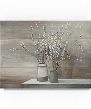 Pussy Willow Still Life Gray Pots By Julia Purinton 24x32 Inch Canvas Wall Art 0 300x360