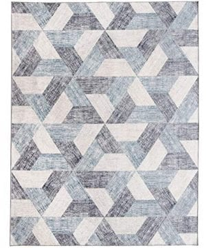 ReaLife Machine Washable Rug Stain Resistant Non Shed Eco Friendly Non Slip Family Pet Friendly Made From Premium Recycled Fibers Subtle Geometric Light Blue 3x5 0 300x360