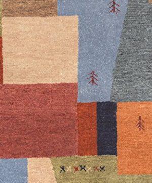 Rizzy Home Mojave Collection Wool Area Rug 5 X 8 MultiOrangeBurgundyTanBeigeGreen 0 1 300x360