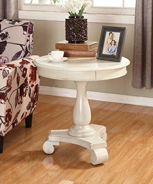 Roundhill Furniture OC0024WH Rene Round Wood Pedestal Side Table White 0 300x360