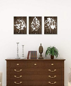 SUMGAR Canvas Wall Art Bedroom Rustic Decor 3 Piece Framed Paintings White Pictures Brown Leaf Prints Artwork12x16 Inch 0 1 300x360
