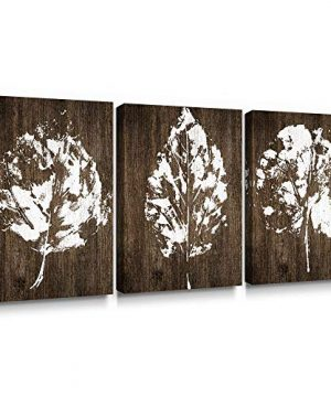 SUMGAR Canvas Wall Art Bedroom Rustic Decor 3 Piece Framed Paintings White Pictures Brown Leaf Prints Artwork12x16 Inch 0 300x360