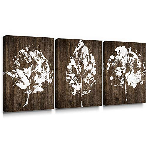 SUMGAR Canvas Wall Art Bedroom Rustic Decor 3 Piece Framed Paintings White Pictures Brown Leaf Prints Artwork12x16 Inch 0