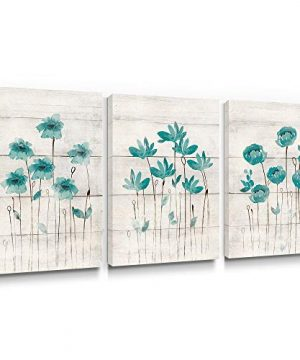 SUMGAR Canvas Wall Art Living Room Farmhouse Decor 3 Piece Blue Flower Pictures Bedroom Rustic Teal Paintings Turquoise Floral Artwork Set Grey Prints Gray Bathroom Home Decorations12x16 Inch 0 300x360