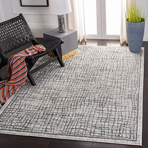 Safavieh Adirondack Collection ADR103B Silver And Ivory Modern Distressed Area Rug 3 X 5 0