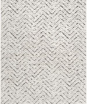 Safavieh Adirondack Collection ADR104N Ivory And Charcoal Modern Distressed Chevron Area Rug 4 X 6 0 0 300x360
