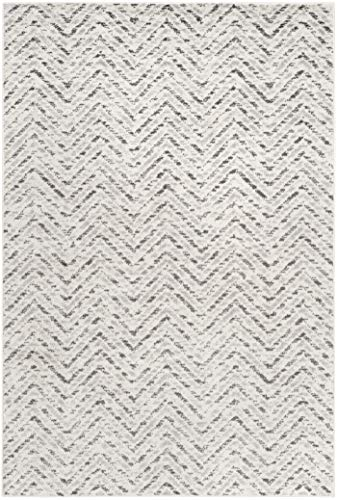 Safavieh Adirondack Collection ADR104N Ivory And Charcoal Modern Distressed Chevron Area Rug 4 X 6 0 0