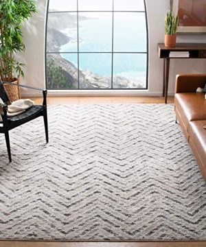 Safavieh Adirondack Collection ADR104N Ivory And Charcoal Modern Distressed Chevron Area Rug 4 X 6 0 300x360