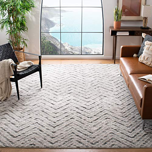 Safavieh Adirondack Collection ADR104N Ivory And Charcoal Modern Distressed Chevron Area Rug 4 X 6 0