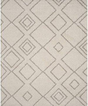 Safavieh Arizona Shag Collection ASG744A Southwestern Diamond Geometric Ivory And Beige Area Rug 8 X 10 0 0 300x360
