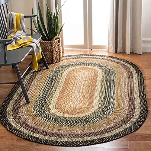 Safavieh Braided Collection BRD308A Hand Woven Reversible Area Rug 5 X 8 Oval Multi 0
