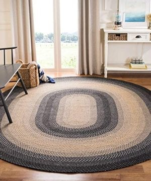 Safavieh Braided Collection BRD311A Hand Woven Reversible Area Rug 3 X 5 Oval BlackGrey 0 300x360