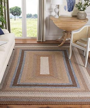 Safavieh Braided Collection BRD313A Hand Woven Reversible Area Rug 6 X 9 BrownMulti 0 300x360