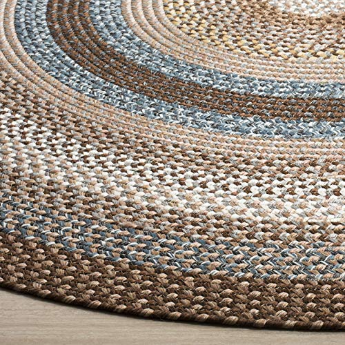 Safavieh Braided Collection BRD313A Hand Woven Reversible Area Rug 8 X 10 Oval BrownMulti 0 0