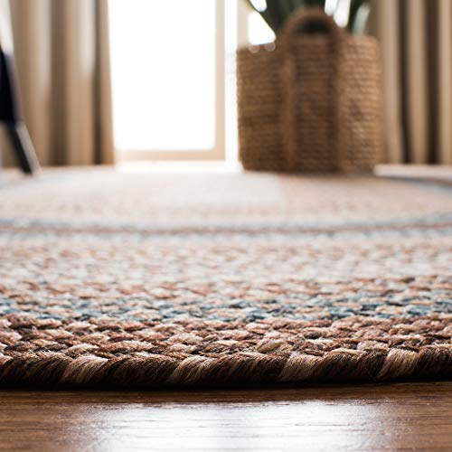 Safavieh Braided Collection BRD313A Hand Woven Reversible Area Rug 8 X 10 Oval BrownMulti 0 2