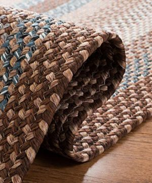 Safavieh Braided Collection BRD313A Hand Woven Reversible Area Rug 8 X 10 Oval BrownMulti 0 3 300x360
