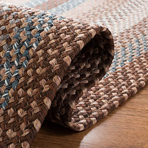 Safavieh Braided Collection BRD313A Hand Woven Reversible Area Rug 8 X 10 Oval BrownMulti 0 3