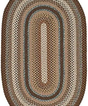 Safavieh Braided Collection BRD313A Hand Woven Reversible Area Rug 8 X 10 Oval BrownMulti 0 300x360