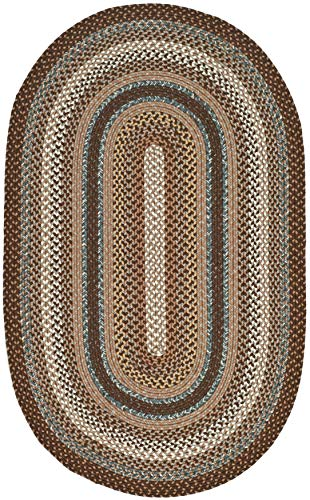 Safavieh Braided Collection BRD313A Hand Woven Reversible Area Rug 8 X 10 Oval BrownMulti 0