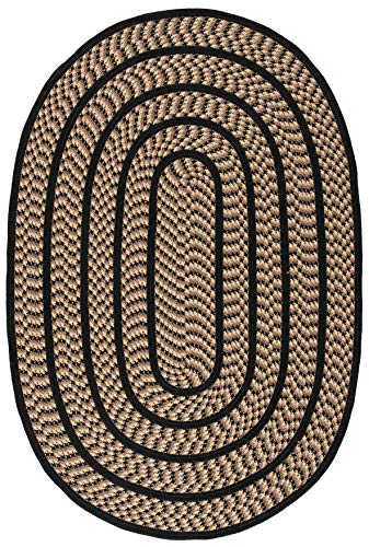 Safavieh Braided Collection BRD401G Hand Woven Reversible Area Rug 3 X 5 Oval BeigeBlack 0 0