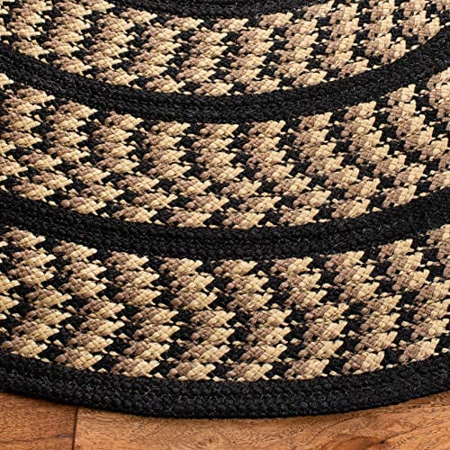 Safavieh Braided Collection BRD401G Hand Woven Reversible Area Rug 3 X 5 Oval BeigeBlack 0 1