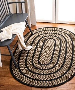 Safavieh Braided Collection BRD401G Hand Woven Reversible Area Rug 3 X 5 Oval BeigeBlack 0 300x360