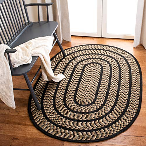 Safavieh Braided Collection BRD401G Hand Woven Reversible Area Rug 3 X 5 Oval BeigeBlack 0