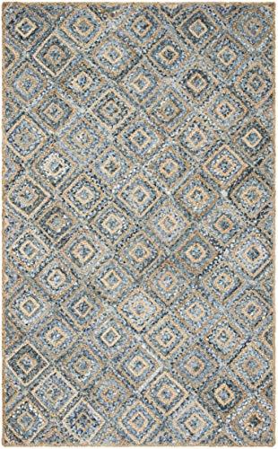 Safavieh Cape Cod Collection CAP354A Hand Woven Flatweave Diamond Geometric Natural And Blue Jute Area Rug 8 X 10 0 1