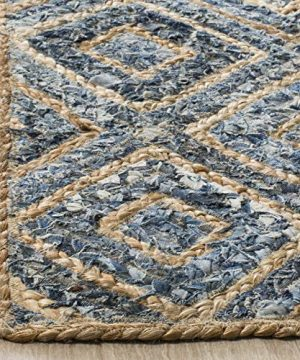 Safavieh Cape Cod Collection CAP354A Hand Woven Flatweave Diamond Geometric Natural And Blue Jute Area Rug 8 X 10 0 2 300x360