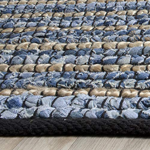 Safavieh Cape Cod Collection CAP363A Hand Woven Blue And Natural Jute And Cotton Area Rug 6 X 9 0 0