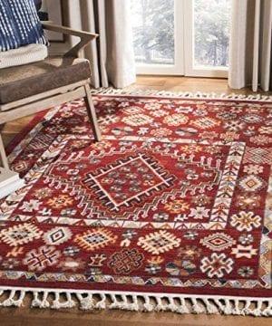 Safavieh Farmhouse Collection FMH814Q Southwestern Tribal Bohemian Tassel Area Rug 3 X 5 RedIvory 0 300x360