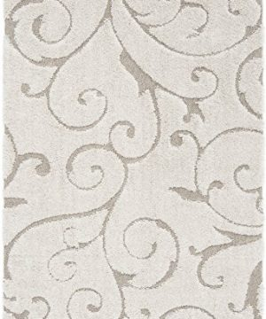 Safavieh Florida Shag Collection SG455 1113 Scrolling Vine Graceful Swirl Area Rug 5 3 X 7 6 CreamBeige 0 0 300x360