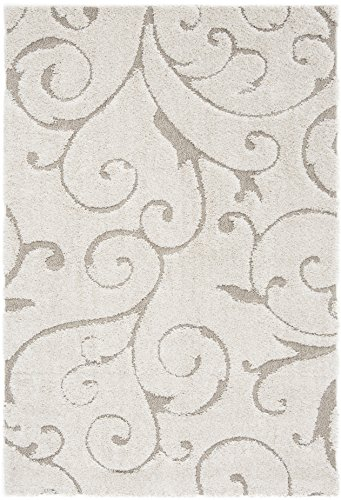 Safavieh Florida Shag Collection SG455 1113 Scrolling Vine Graceful Swirl Area Rug 5 3 X 7 6 CreamBeige 0 0