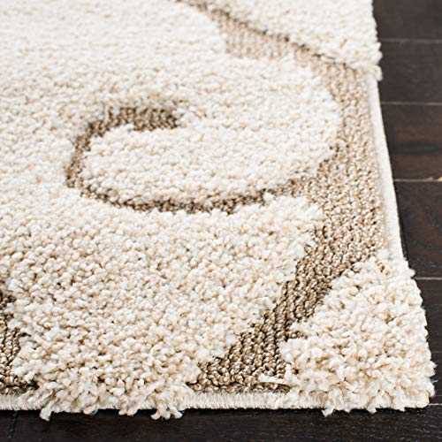 Safavieh Florida Shag Collection SG455 1113 Scrolling Vine Graceful Swirl Area Rug 5 3 X 7 6 CreamBeige 0 1