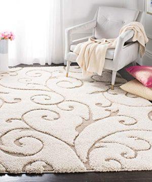 Safavieh Florida Shag Collection SG455 1113 Scrolling Vine Graceful Swirl Area Rug 5 3 X 7 6 CreamBeige 0 300x360