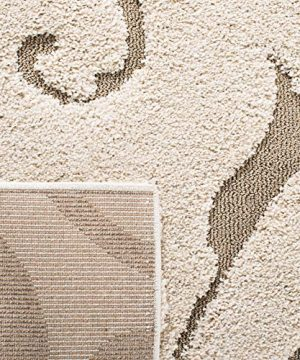 Safavieh Florida Shag Collection SG455 1113 Scrolling Vine Graceful Swirl Area Rug 5 3 X 7 6 CreamBeige 0 4 300x360