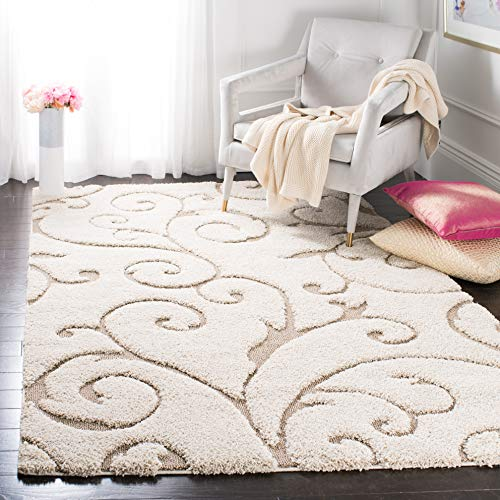 Safavieh Florida Shag Collection SG455 1113 Scrolling Vine Graceful Swirl Area Rug 5 3 X 7 6 CreamBeige 0