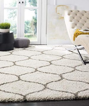 Safavieh Hudson Shag Collection SGH280A Moroccan Ogee Plush Area Rug 6 X 9 IvoryGrey 0 300x360