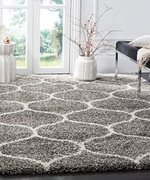 Safavieh Hudson Shag Collection SGH280B Moroccan Ogee Plush Area Rug 5 1 X 7 6 GreyIvory 0 300x360