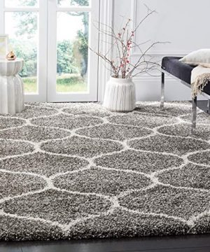 Safavieh Hudson Shag Collection SGH280B Moroccan Ogee Plush Area Rug 8 X 10 GreyIvory 0 300x360