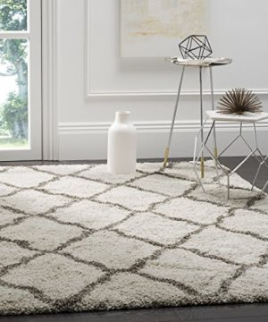 Safavieh Hudson Shag Collection SGH283A Ivory And Grey Moroccan Geometric Area Rug 6 X 9 0 300x360