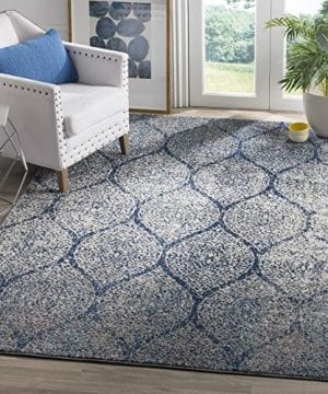 Safavieh Madison Collection MAD604G Geometric Ogee Trellis Distressed Area Rug 3 X 5 NavySilver 0 300x360