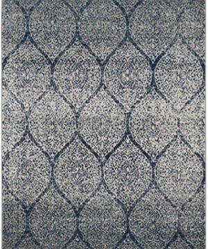 Safavieh Madison Collection MAD604G Geometric Ogee Trellis Distressed Area Rug 4 X 6 NavySilver 0 0 300x360