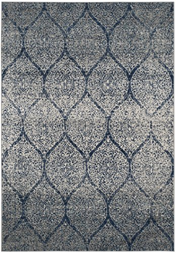 Safavieh Madison Collection MAD604G Geometric Ogee Trellis Distressed Area Rug 4 X 6 NavySilver 0 0