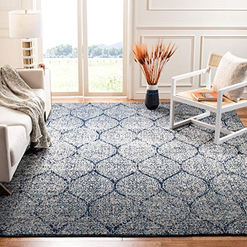 Safavieh Madison Collection MAD604G Geometric Ogee Trellis Distressed Area Rug 4 X 6 NavySilver 0