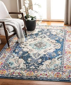 Safavieh Monaco Collection MNC243F Bohemian Chic Medallion Distressed Area Rug 3 X 5 NavyLight Blue 0 300x360