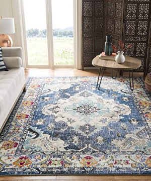 Safavieh Monaco Collection MNC243F Bohemian Chic Medallion Distressed Area Rug 5 1 X 7 7 NavyLight Blue 0 300x360