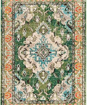 Safavieh Monaco Collection MNC243F Bohemian Chic Medallion Distressed Area Rug 8 X 10 Forest GreenLight Blue 0 0 300x360