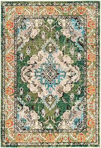 Safavieh Monaco Collection MNC243F Bohemian Chic Medallion Distressed Area Rug 8 X 10 Forest GreenLight Blue 0 0
