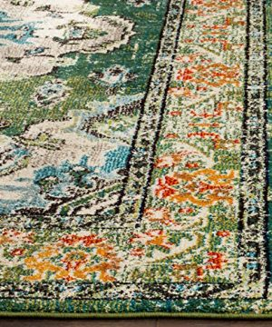 Safavieh Monaco Collection MNC243F Bohemian Chic Medallion Distressed Area Rug 8 X 10 Forest GreenLight Blue 0 1 300x360